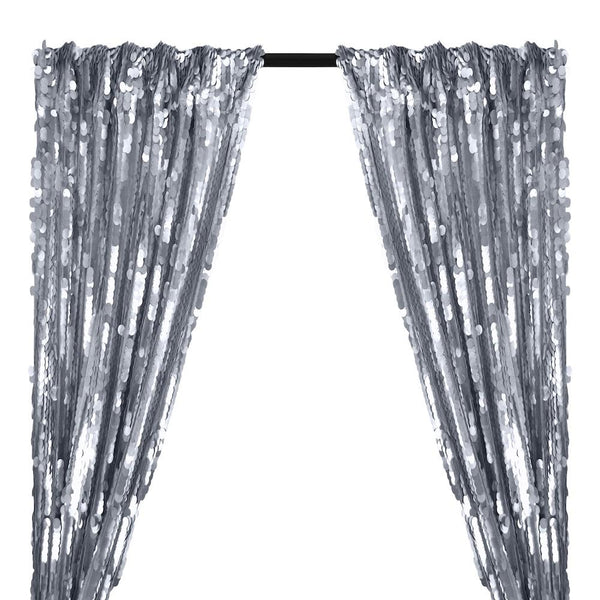 Paillette Circle Sequins Rod Pocket Curtains (All Colors Available) - Silver