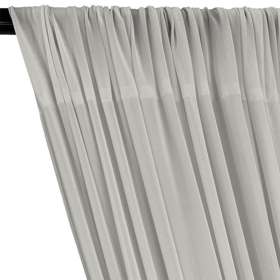 Power Mesh Rod Pocket Curtains - Silver