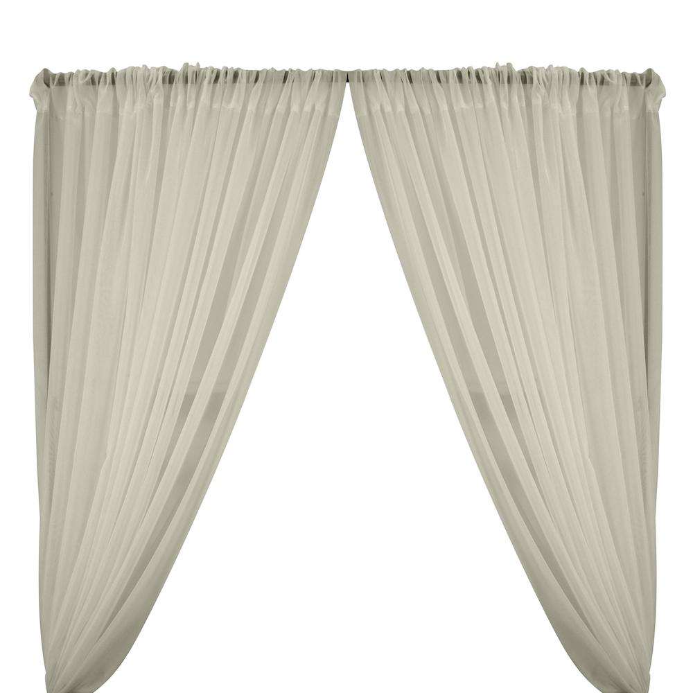 Sheer Voile Rod Pocket Curtains - Silver