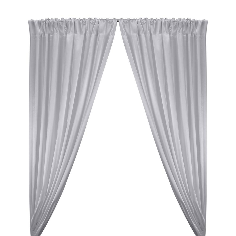 Stretch Charmeuse Satin Rod Pocket Curtains - Silver
