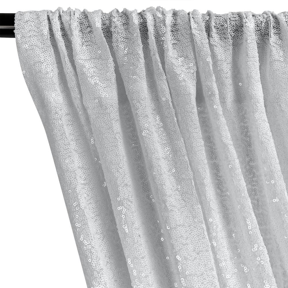 Zigzag Micro Sequins Starlight Rod Pocket Curtains - Silver