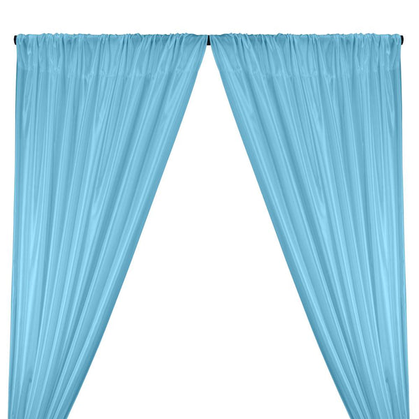 Poly China Silk Lining Rod Pocket Curtains - Sky Blue