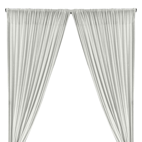 All-Over Micro Sequins Starlight On Stretch Mesh Rod Pocket Curtains (All Colors Available) - Snow White