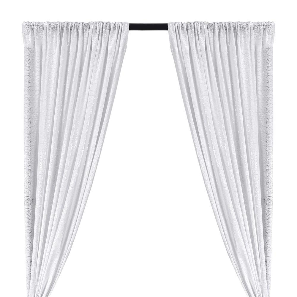 Zigzag Micro Sequins Starlight Rod Pocket Curtains (All Colors Available) - Snow White