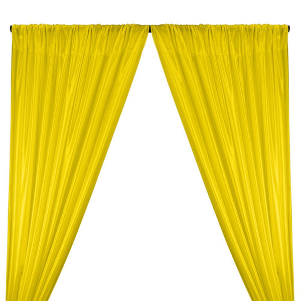 Poly China Silk Lining Rod Pocket Curtains - Sunflower Yellow