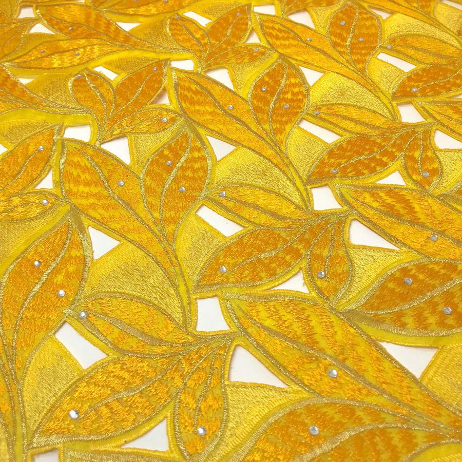 Sunflower Yellow Tiger Leaf Lace on Organza