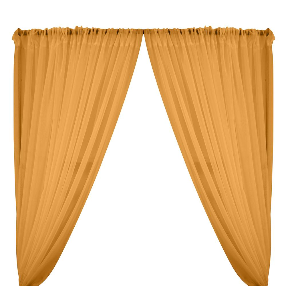 Sheer Voile Rod Pocket Curtains - Tangerine