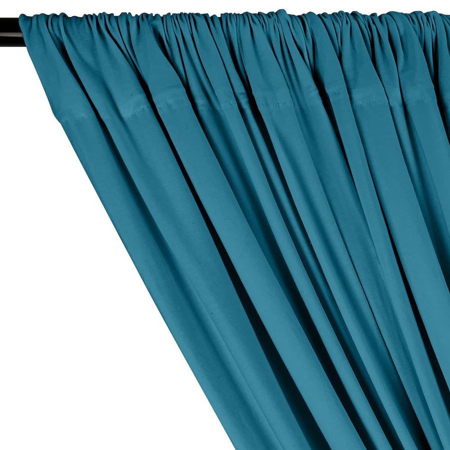 Cotton Jersey Rod Pocket Curtains - Teal