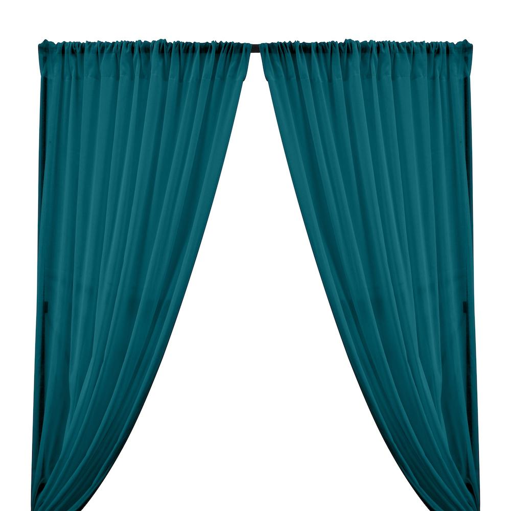 Cotton Voile Rod Pocket Curtains - Teal