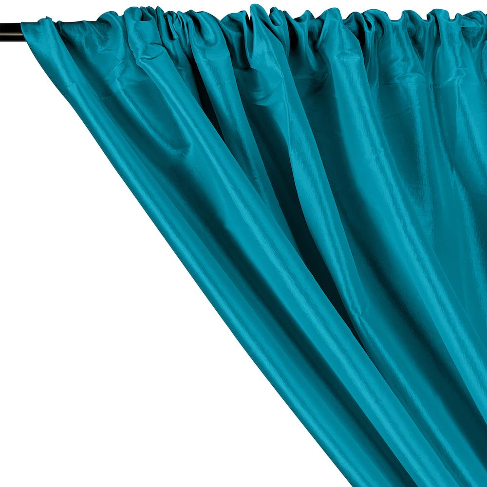 Stretch Taffeta Rod Pocket Curtains - Teal