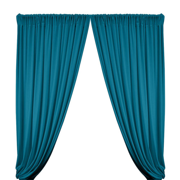 Stretch Velvet Rod Pocket Curtains - Teal