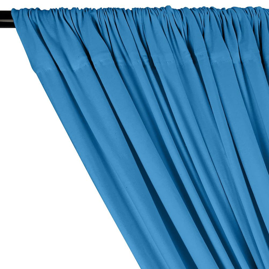 Cotton Jersey Rod Pocket Curtains - Turquoise