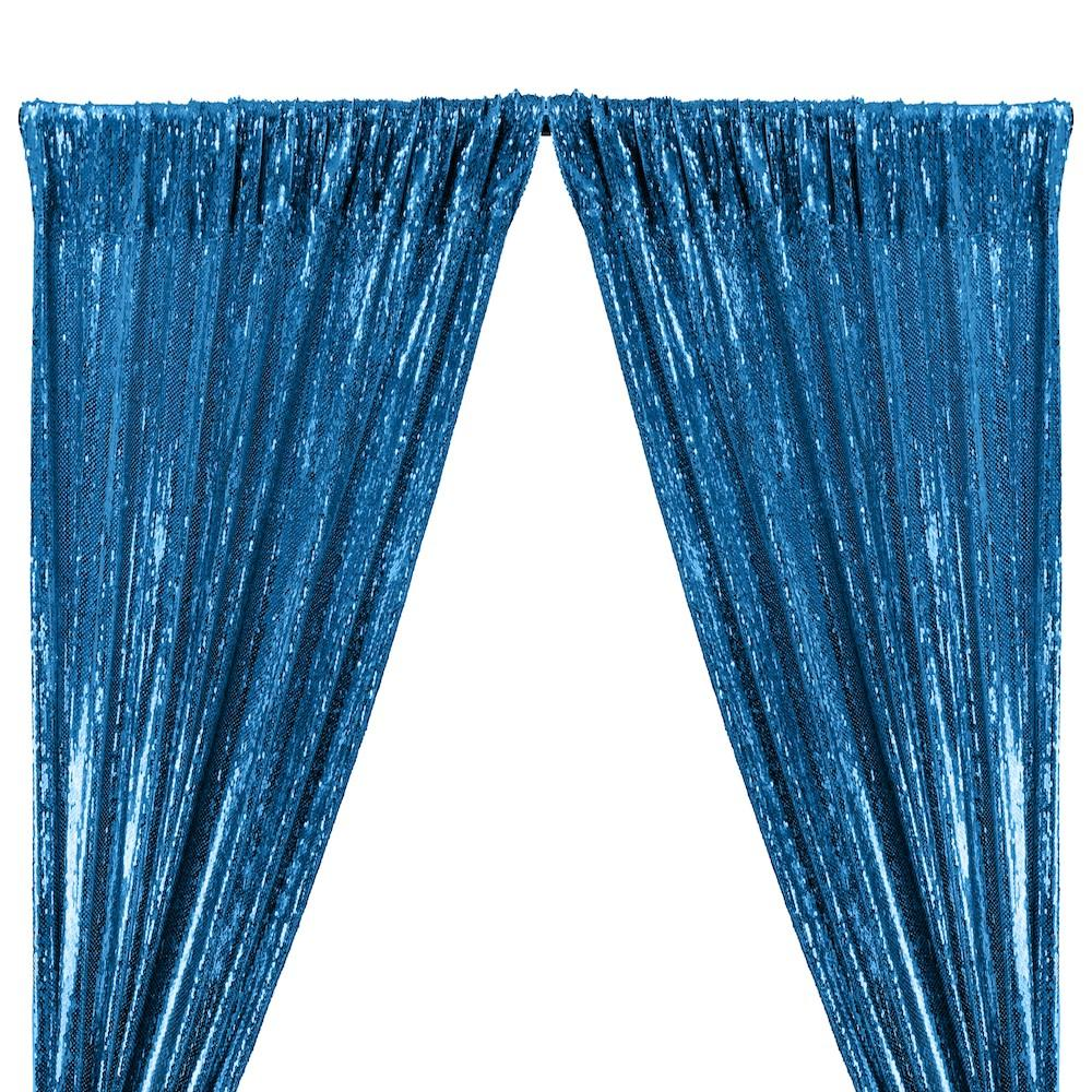 All-Over Sequins Mermaid Scale on Stretch Mesh Rod Pocket Curtains - Turquoise