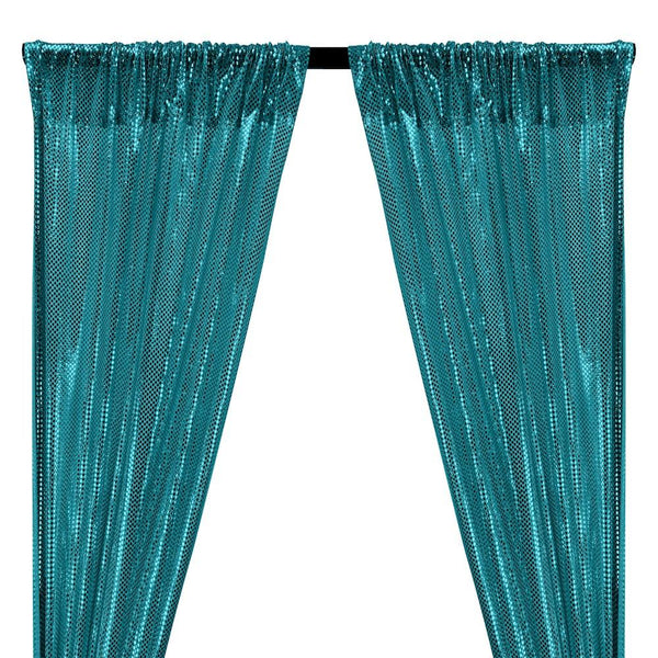 American Trans Knit Sequins Rod Pocket Curtains - Turquoise