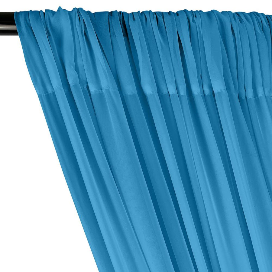 Polyester Chiffon Rod Pocket Curtains - Turquoise