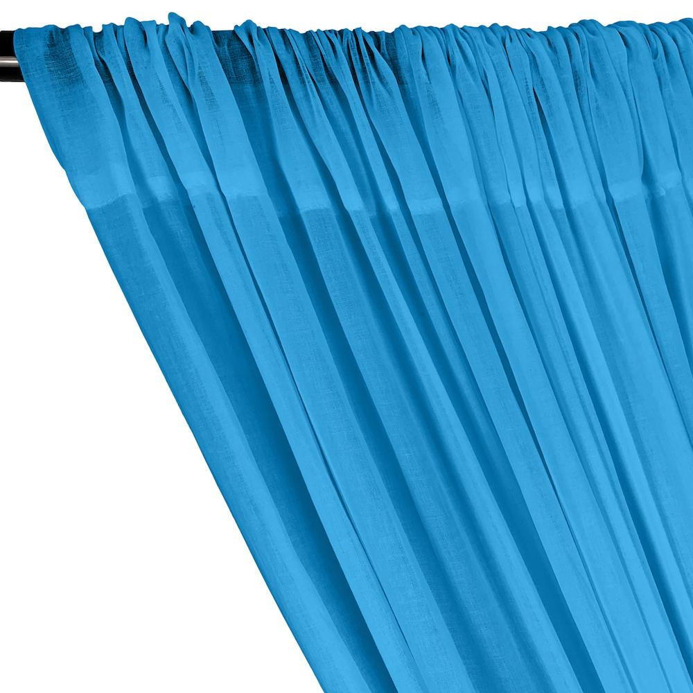 Cotton Voile Rod Pocket Curtains - Turquoise