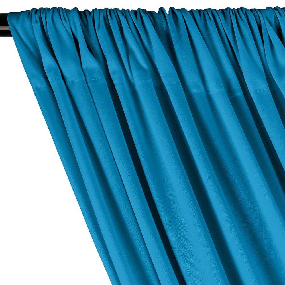 Turquoise Interlock Knit Fabric Curtains With Pockets For