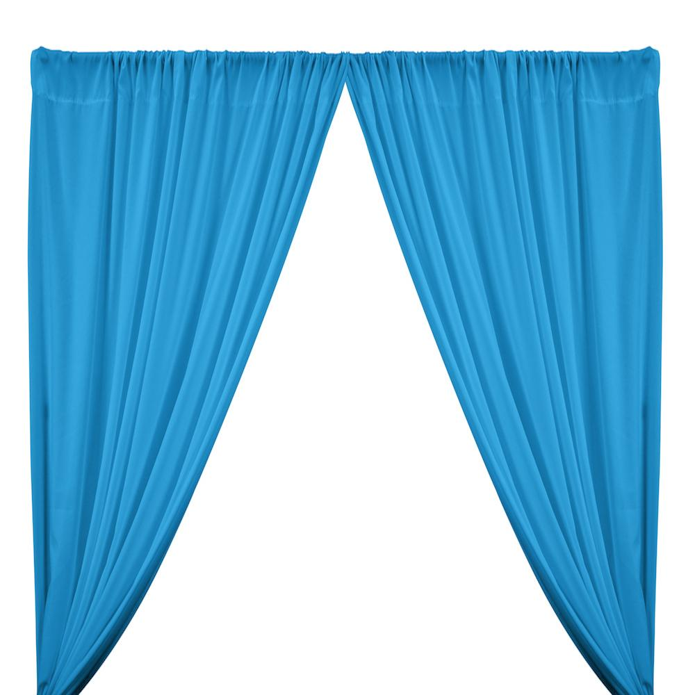 Peachskin Rod Pocket Curtains - Turquoise