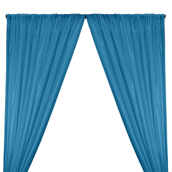 Poly China Silk Lining Rod Pocket Curtains - Turquoise