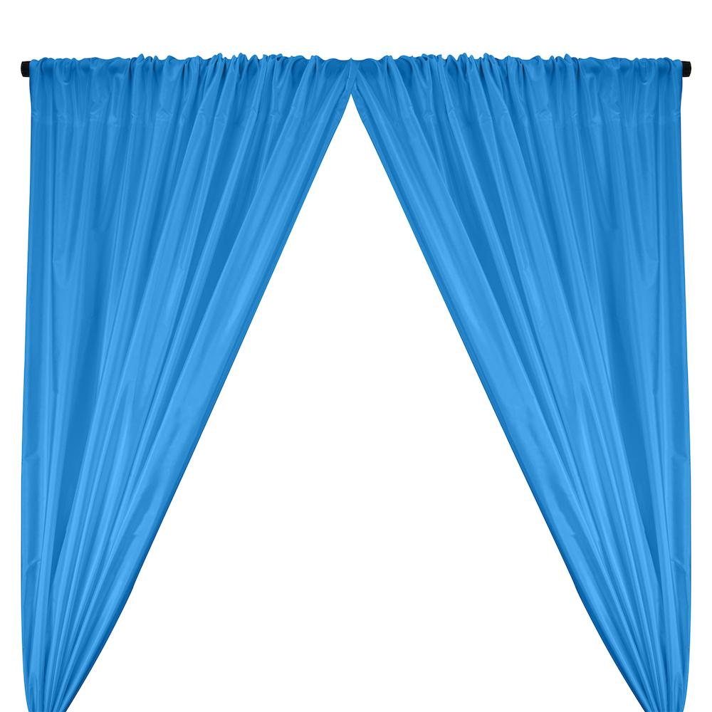 Polyester Taffeta Lining Rod Pocket Curtains - Turquoise