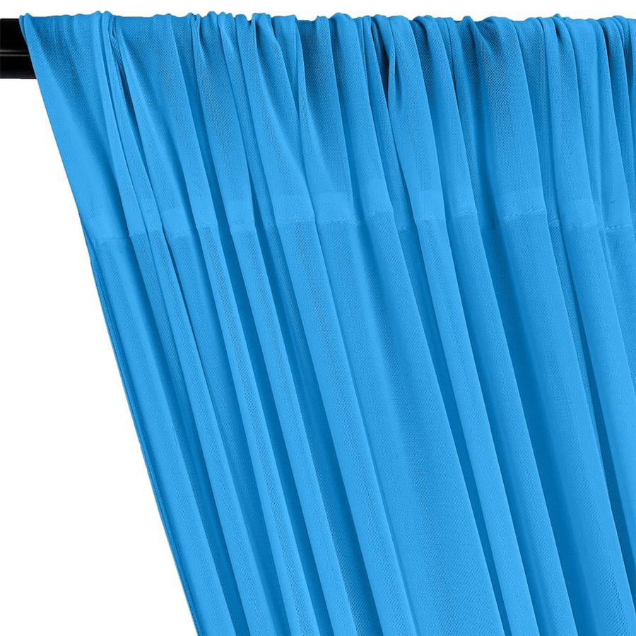 Power Mesh Rod Pocket Curtains - Turquoise