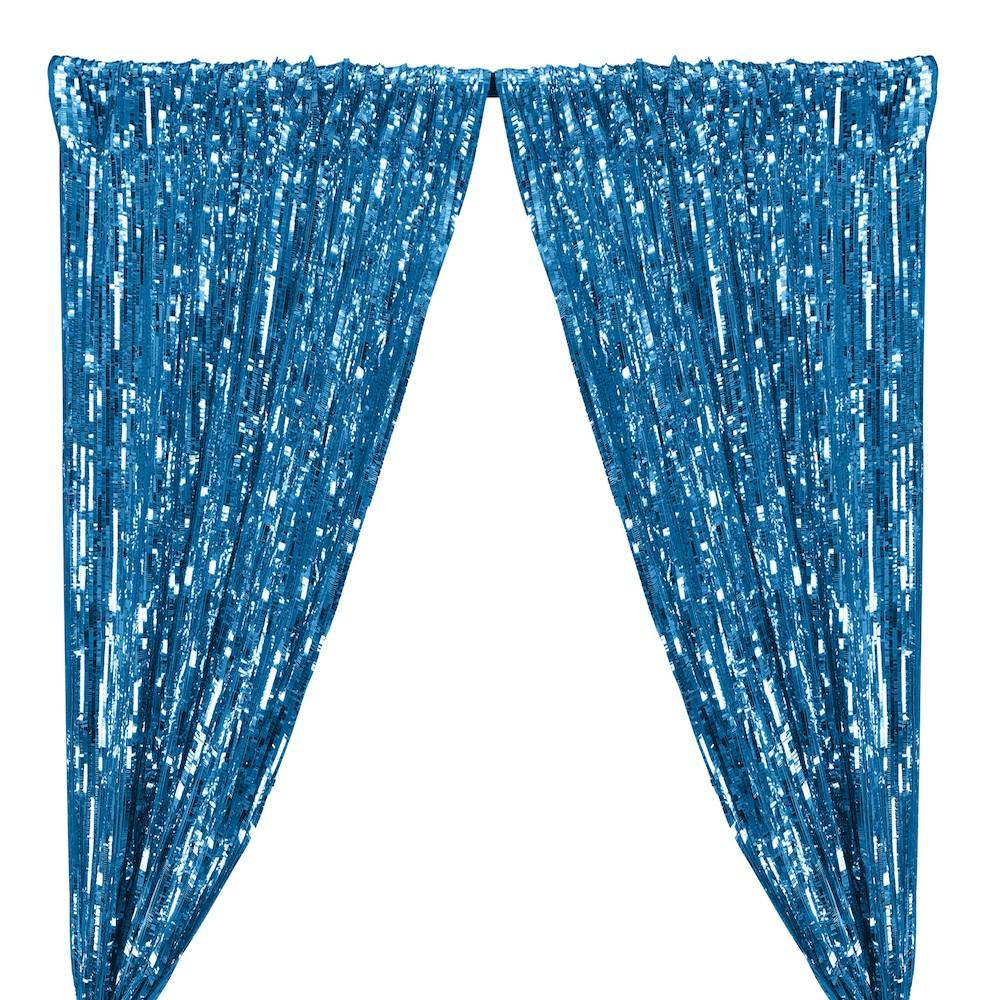 Rectangle Piano Sequins Rod Pocket Curtains - Turquoise