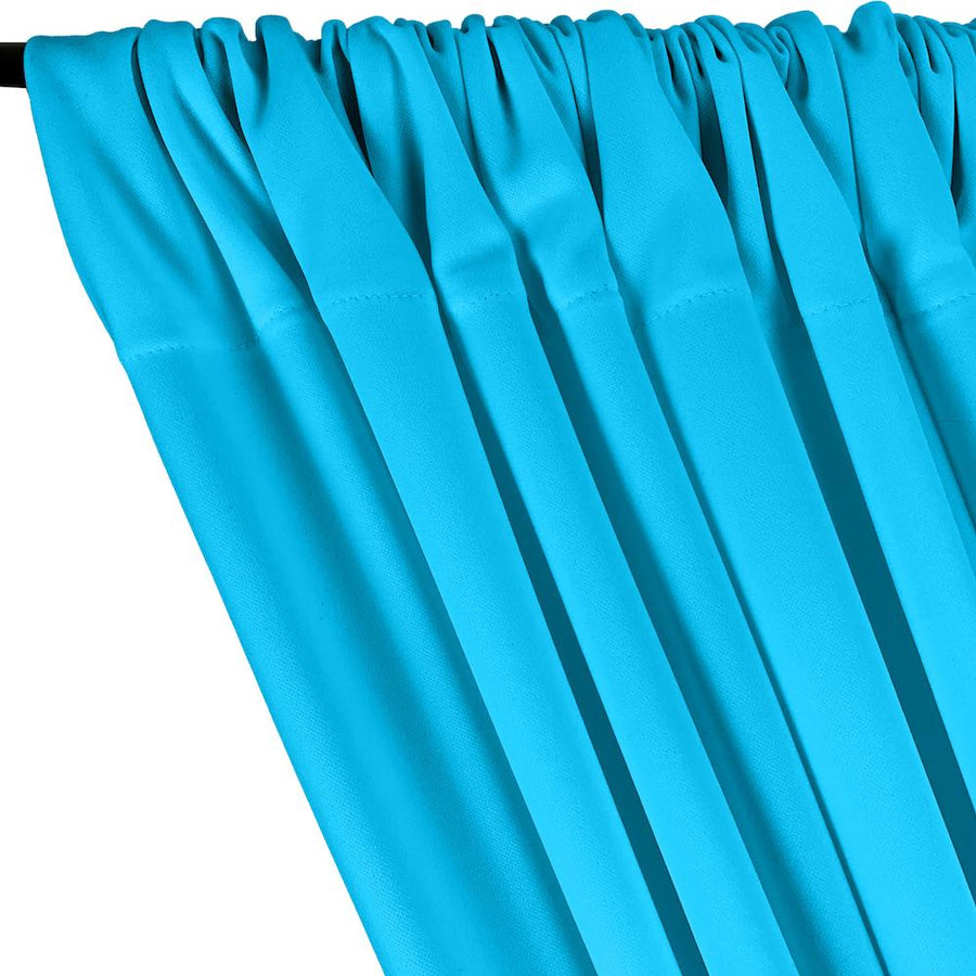 Scuba Double Knit Rod Pocket Curtains -  Turquoise