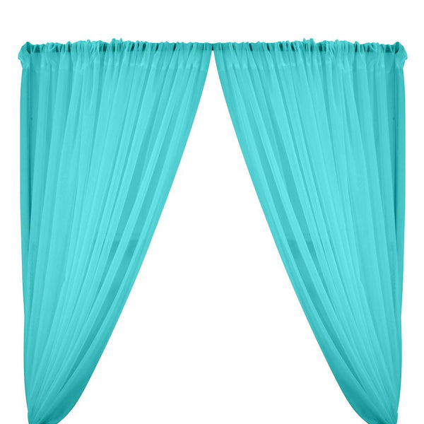 Sheer Voile Fire Retardant Rod Pocket Curtains - Turquoise