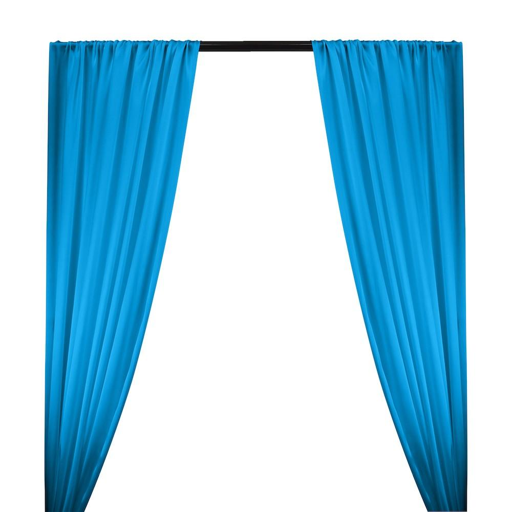 Silk Charmeuse Rod Pocket Curtains - Turquoise