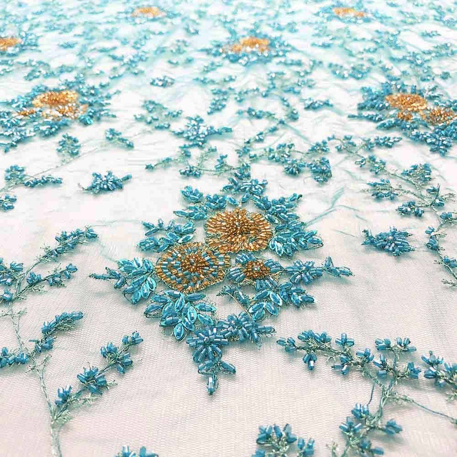 Turquoise Spruce With Vine Beaded Bridal Lace
