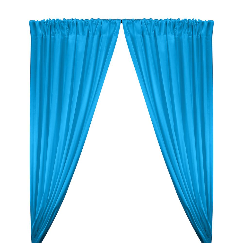 Stretch Charmeuse Satin Rod Pocket Curtains - Turquoise