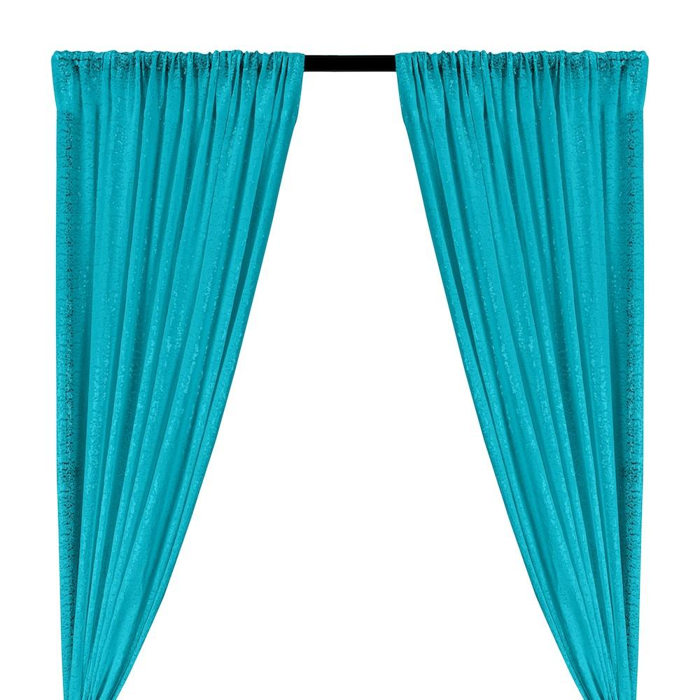 Zigzag Micro Sequins Starlight Rod Pocket Curtains - Turquoise