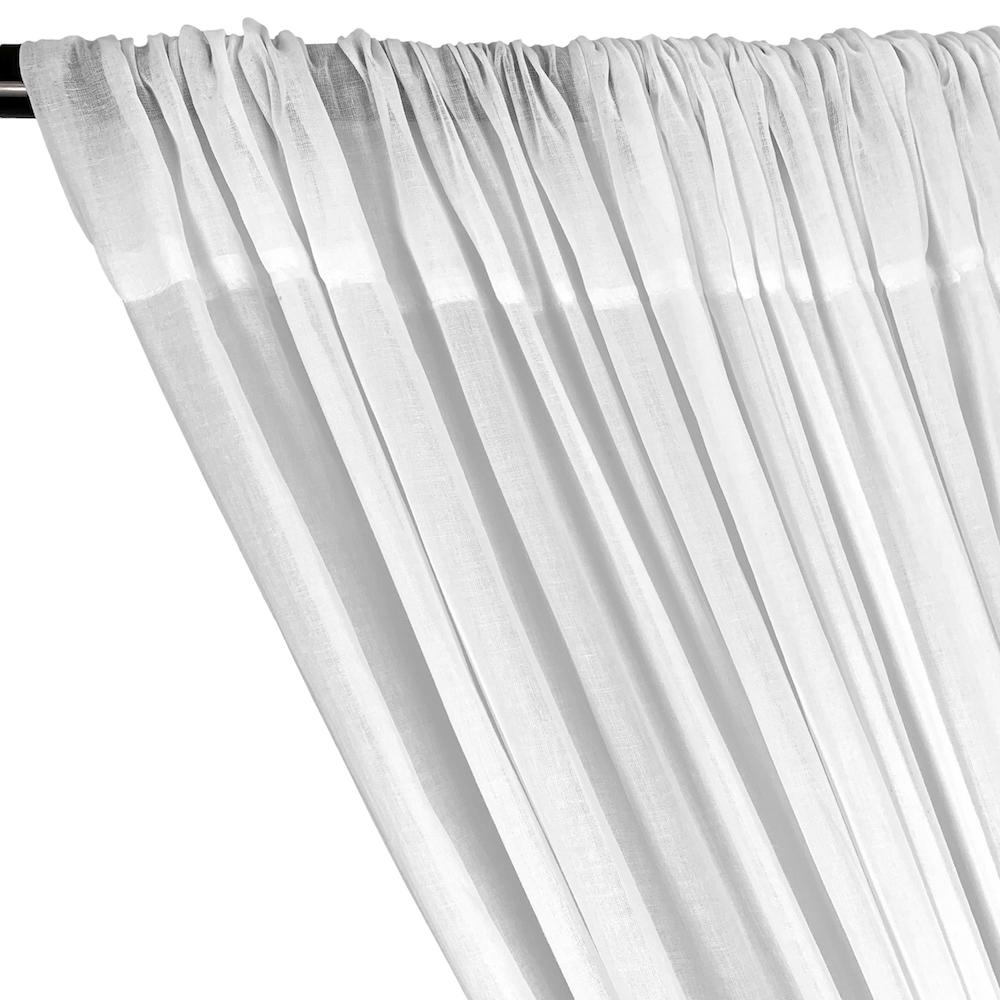 Cotton Voile Rod Pocket Curtains (All Colors Available) - White