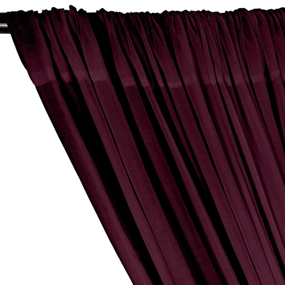 Cotton Voile Rod Pocket Curtains - Wine