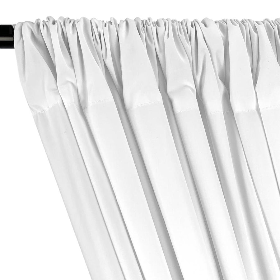 100% Cotton Broadcloth Rod Pocket Curtains (All Colors Available) - White