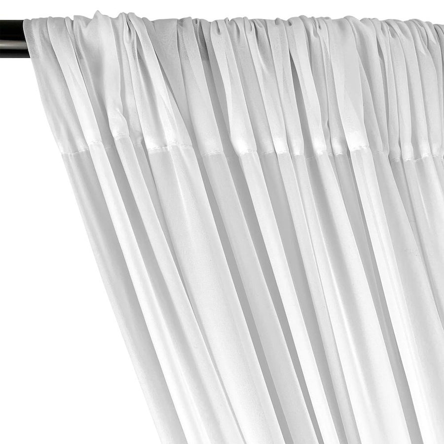 Polyester Chiffon Rod Pocket Curtains (All Colors Available) - White