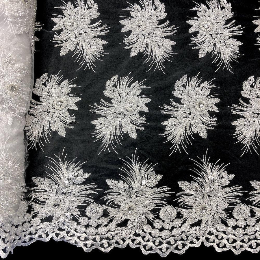 Gloriosa Bridal Lace Beaded Fabric Fabric