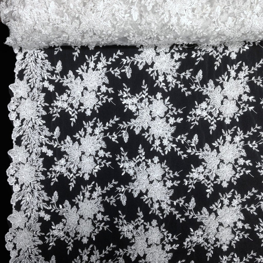 Ivy Bridal Lace Beaded Fabric Fabric