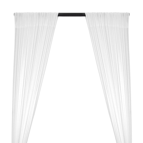 Power Mesh Rod Pocket Curtains (All Colors Available) - White