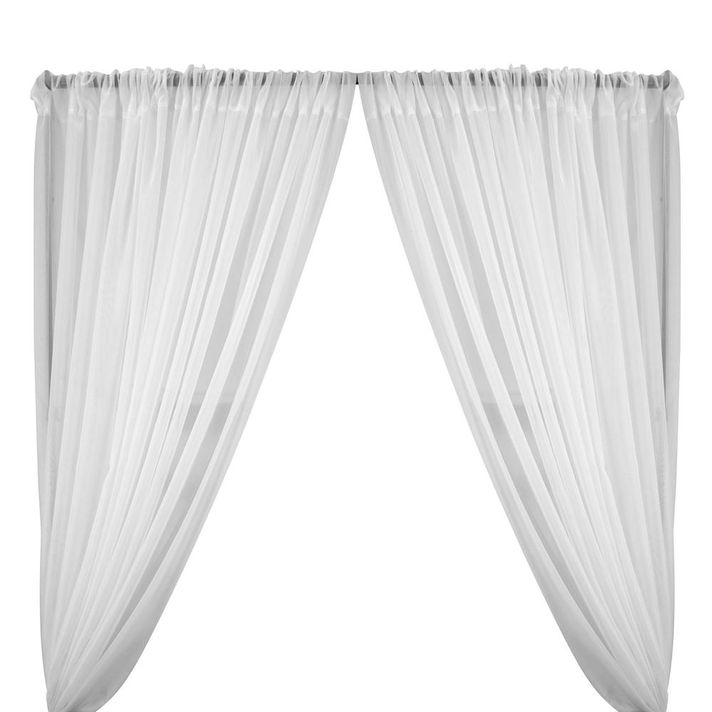 Sheer Voile Rod Pocket Curtains (All Colors Available) - White
