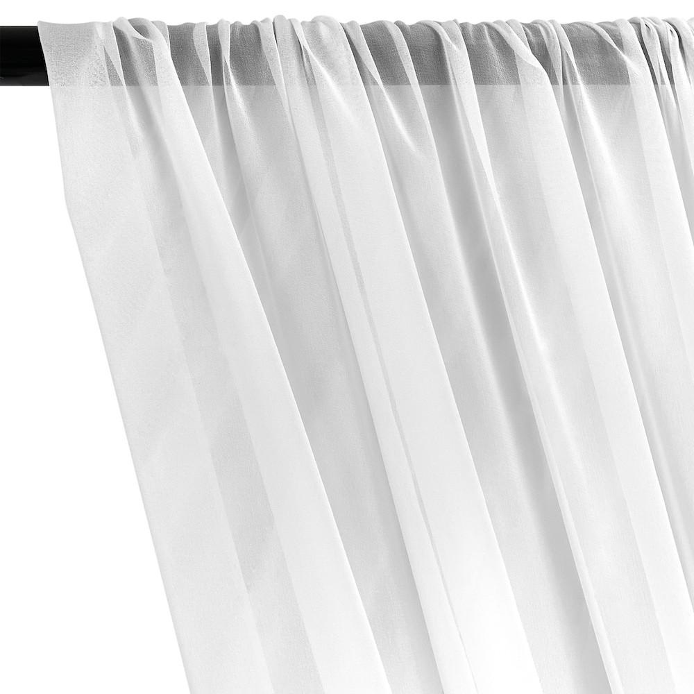 Silk Georgette Chiffon Rod Pocket Curtains (All Colors Available) - White