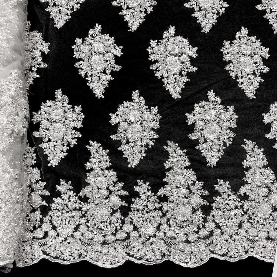 Spruce Bridal Lace Beaded Fabric