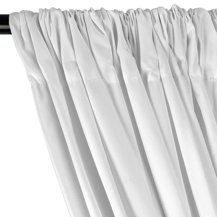 Stretch Broadcloth Rod Pocket Curtains (All Colors Available) - White