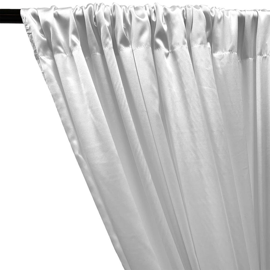 Stretch Charmeuse Satin Rod Pocket Curtains (All Colors Available) - White