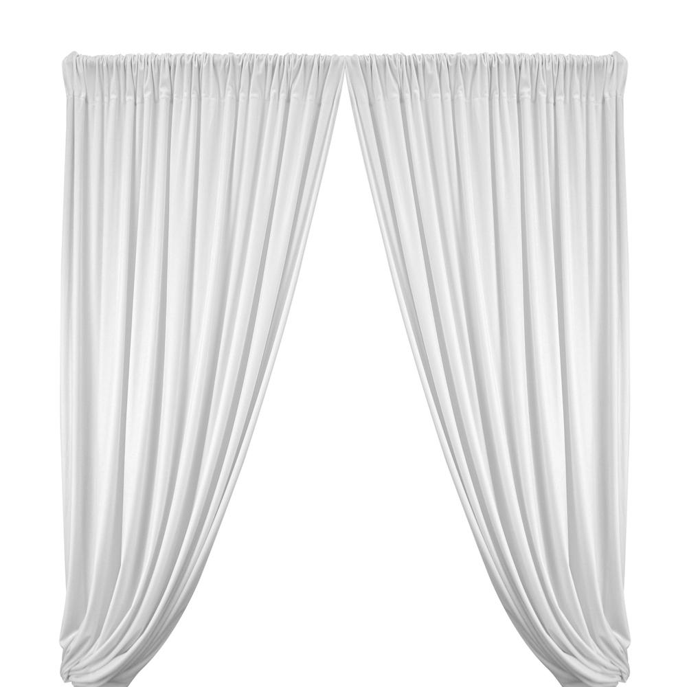 Stretch Velvet Rod Pocket Curtains (All Colors Available) - White