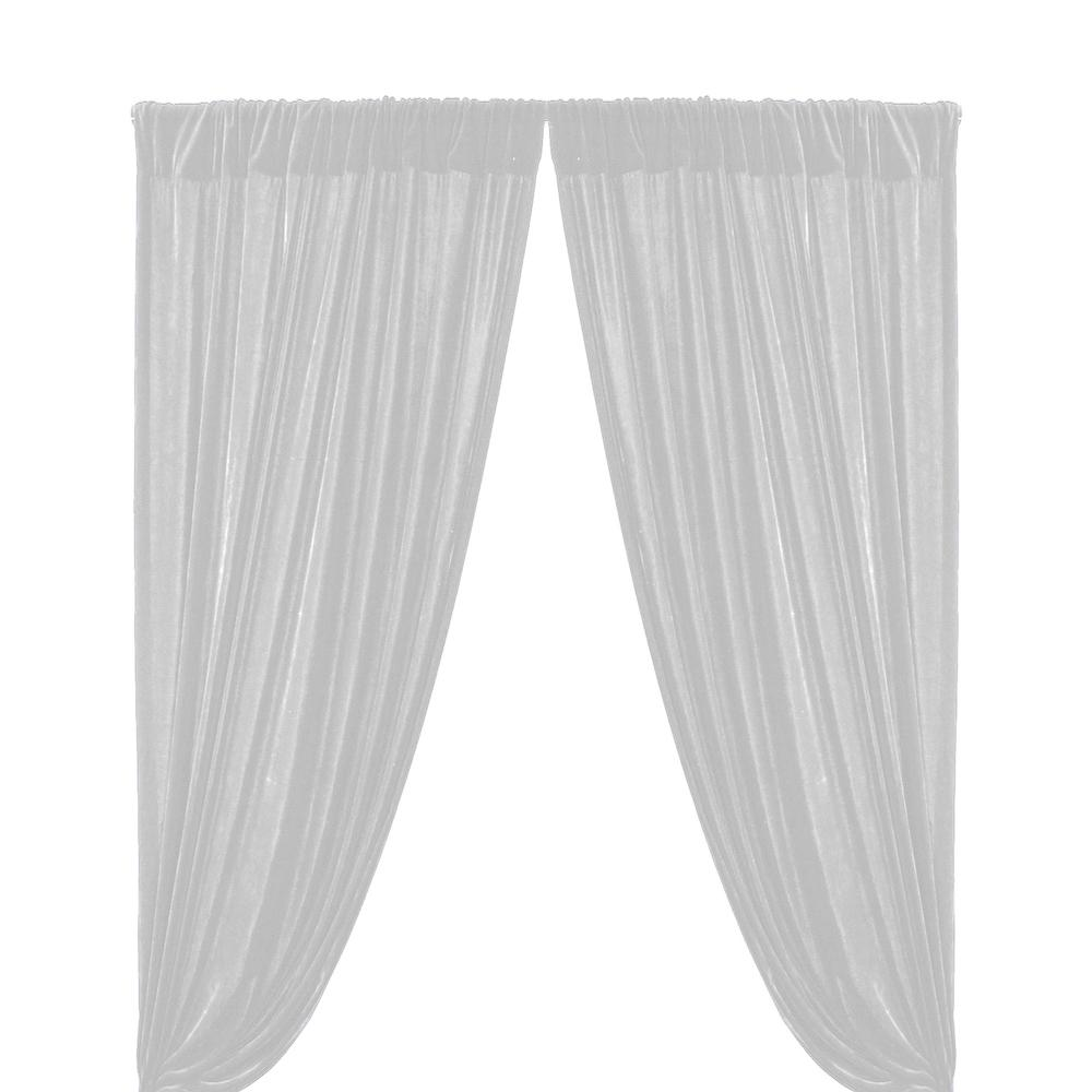 Micro Velvet Rod Pocket Curtains (All Colors Available) - White