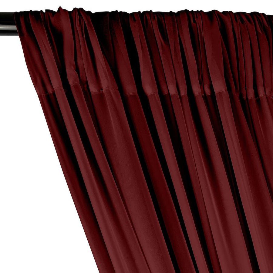 Polyester Chiffon Rod Pocket Curtains - Wine
