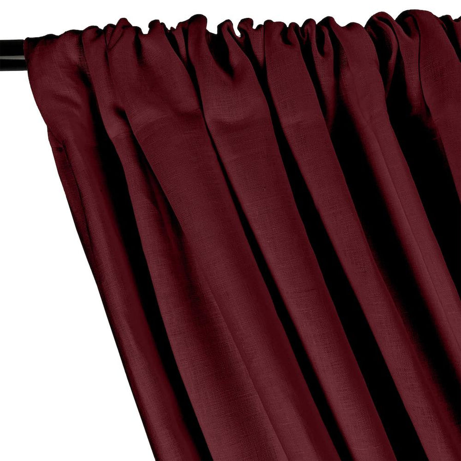 Natural Linen Rod Pocket Curtains - Wine