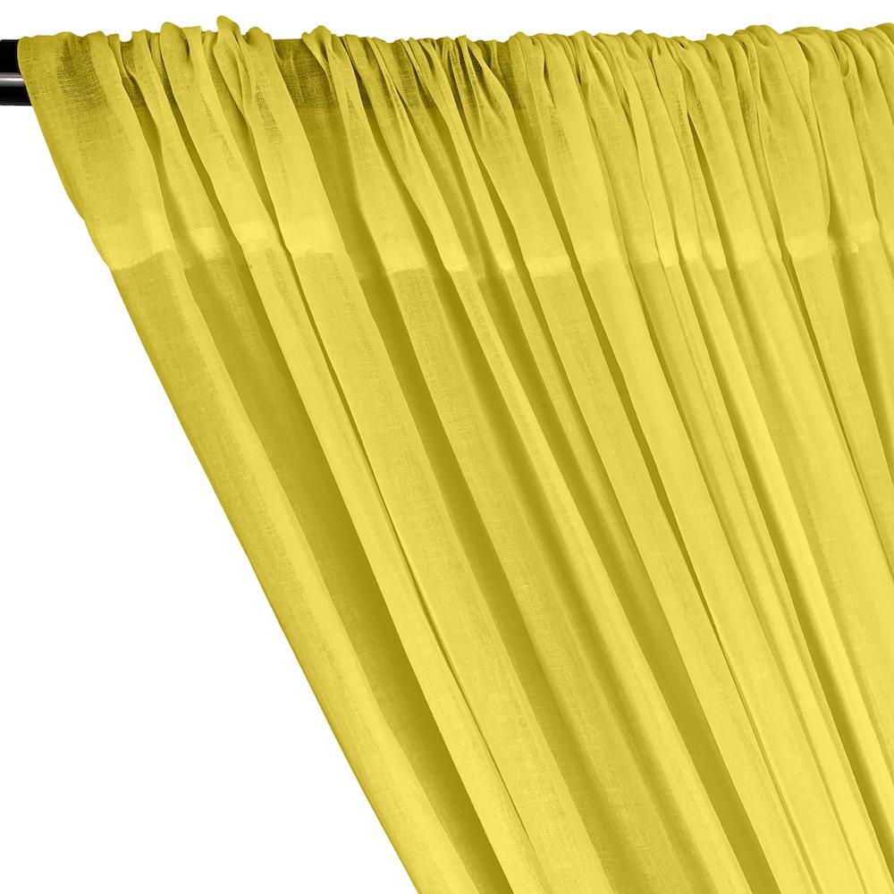 Cotton Voile Rod Pocket Curtains - Yellow