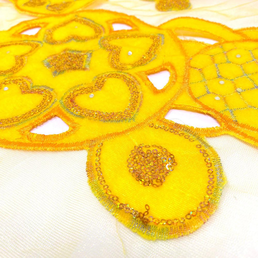 Yellow Circle Embroidery Lace on Mesh